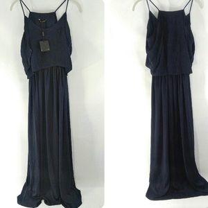 Massimo Dutti Floor Length Navy Blue Dress